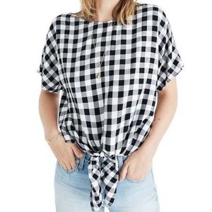 💛 NWOT Madewell Tie-Front Checkered Blouse